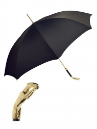 Pasotti Umbrella UAW10 Greyhound Gold Handle Black Oxford