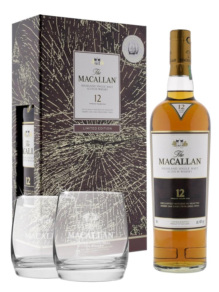 Macallan  12 Year Old Sherry Oak Single Malt Limited Edition 2017 Release w/Glasses 700ml