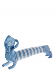 Sculpture Resin Dog Dachshund Blue With White Stripe