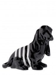 Sculpture Resin Dog Basset Hound Black With White Stripe