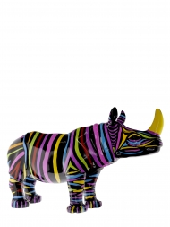 Sculpture Fibre Glass Rhino Colourful