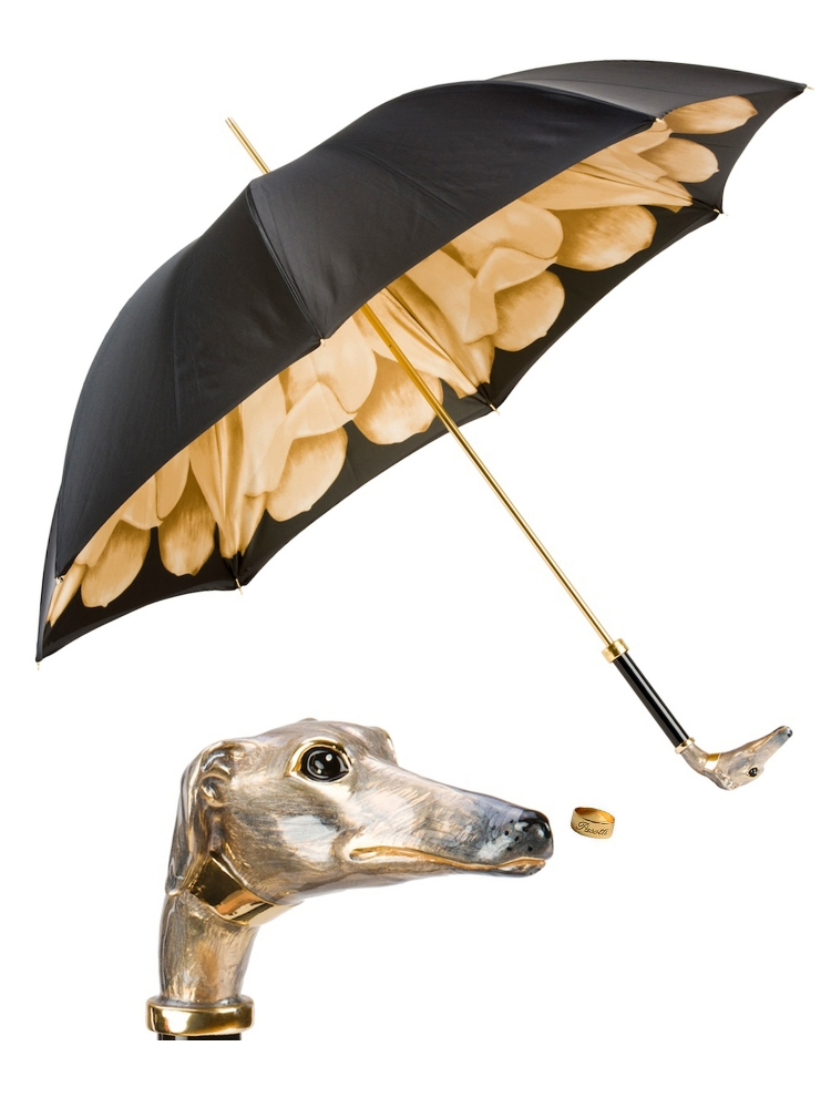 Pasotti Umbrella WMK63 Greyhound Black Flower