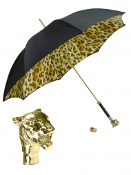 Pasotti Umbrella UMW35 Tiger Gold Handle Black Panther Print