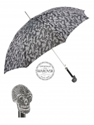 Pasotti Umbrella UAW333NE Skull Swarovski Black Handle Grey Camouflage Print