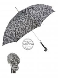 Pasotti Umbrella UAW333NE Skull Swarovski Black Handle Grey Camouflage Print