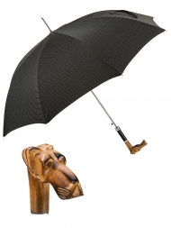 Pasotti Umbrella UAN52 Great Dane Wood Handle Black Oxford