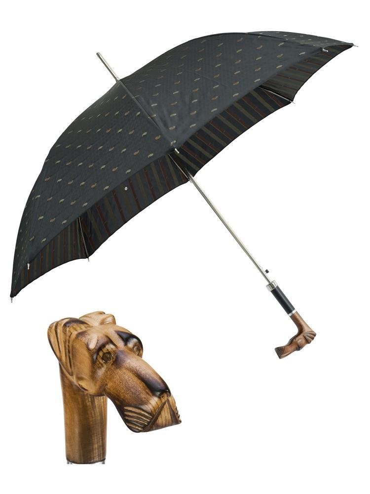 Pasotti Umbrella UAN52 Great Dane Wood Handle Black Artisanal Italian