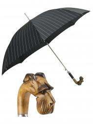 Pasotti Umbrella UAN49 Schnauzer Wood Handle Striped