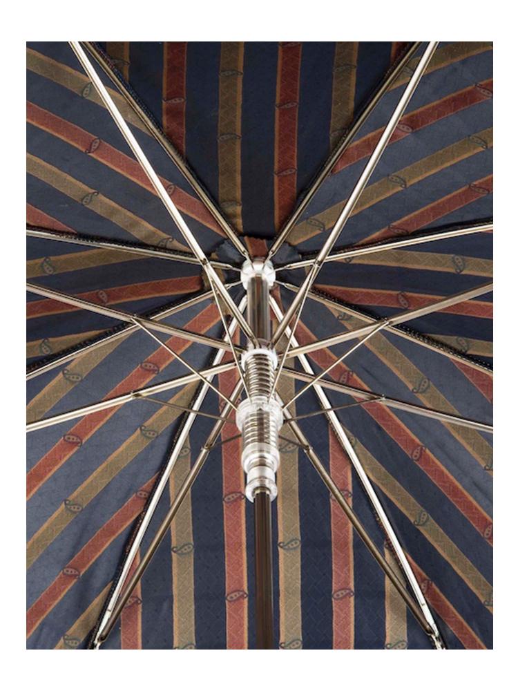 Pasotti Umbrella UAN49 Schnauzer Wood Handle Blue Artisanal Italian