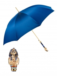 Pasotti Umbrella UAK68PB Tutankhamun Gold Pearl Handle Blue Oxford