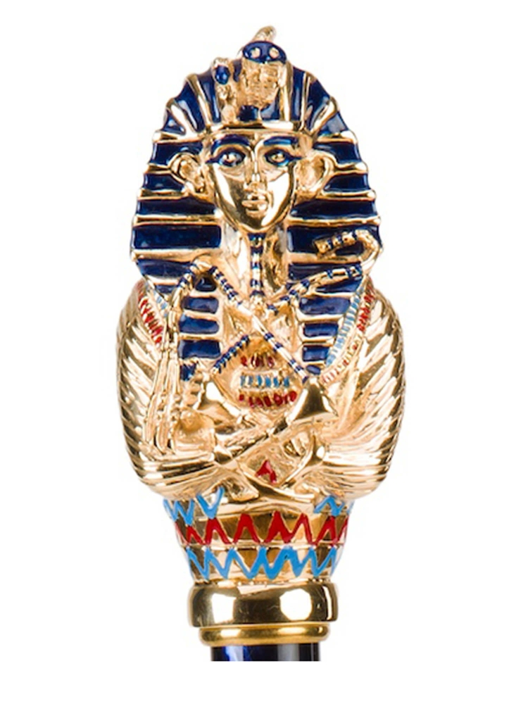 Pasotti Umbrella UAK68PB Tutankhamun Gold Pearl Handle Blue Oxford