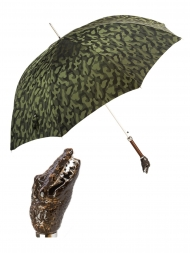 Pasotti Umbrella UAK66 Crocodile Handle Green Camouflage Print