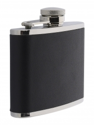 Peterson Hip Flask FLA149 Black Leather 4oz