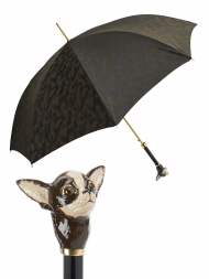 Pasotti Umbrella UAK70mo Chihuahua Handle Brown Camouflage Print