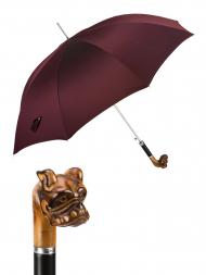 Pasotti Umbrella UAN51 Bulldog Wood Handle Burgundy