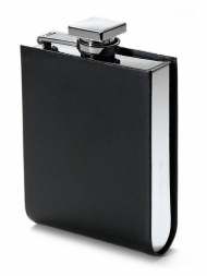 Philippi Hip Flask 128005 Giorgio Leather Black Stainless Steel 5oz