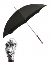 Pasotti Umbrella UAW81 Monkey Pearl Handle Black Oxford