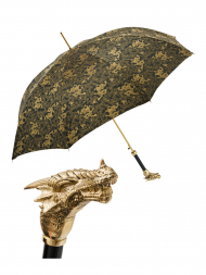 Pasotti Umbrella UAK73V Dragon Gold Handle Gold Dragon Print