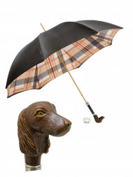Pasotti Umbrella UA1338 Dachshund Acetate Handle Tartan Black