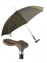 Pasotti Umbrella UA953 Hare Wood Handle Brown