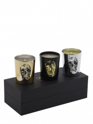 Modern Alchemy Candle Set 9131 Memento Mori Delft Skull Votives Gift Set of 3
