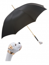 Pasotti Umbrella UAK22 White Boxer Handle Black Oxford
