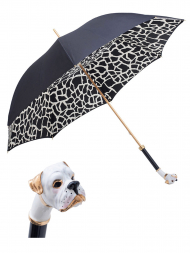 Pasotti Umbrella UMK22 White Boxer Handle Black Gradient Giraffe Print