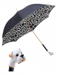 Pasotti Umbrella UMK22 White Boxer Handle Black Gradient Giraffe Print