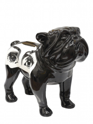 Sculpture Fibre Glass Bulldog Black With Eye