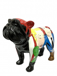 Sculpture Fibre Glass Bulldog Black With Couple