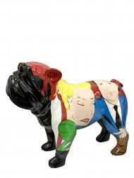 Sculpture Fibre Glass Bulldog Black With Couple