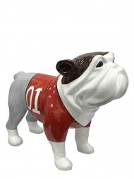 Sculpture Fibre Glass Bulldog White With No.1