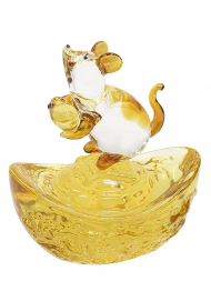 Tai Hwa Sculpture Chinese Crystal Rat Lucky Fortune