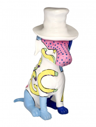 Sculpture Resin Dog Colourful M11073 Hat White