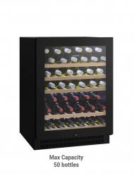 Vintec Noir VWS 050SBA-X 50bots Black Colour Glass Door, Single Temp