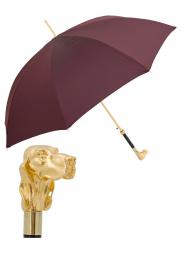 Pasotti Umbrella MAW40 Fido Gold Handle Burgundy Oxford