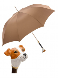 Pasotti Umbrella MAK81 Jack Russell Handle Brown