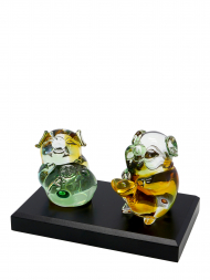 Tai Hwa Sculpture Chinese Crystal Lucky Pig Pair