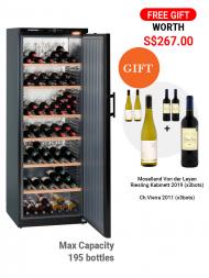 Liebherr-Barrique Wkb 4611 195bots Free Standing, Solid Door, Black c/w 6bot Wines