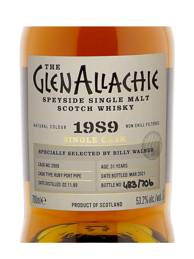 Glenallachie 1989 31 Year Old Cask 2909 Ruby Port Finish Single Malt 700ml w/box
