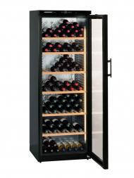 Liebherr-Barrique Wkb 4612 195bots Free Standing, Glass Door, Black c/w Double Leather Bag